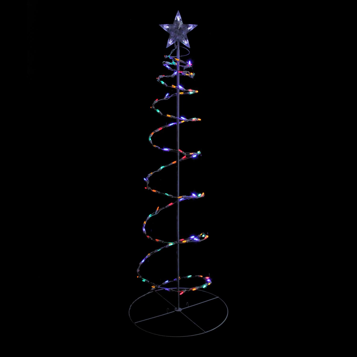 5 Multi Color Led Lighted Outdoor Spiral Christmas Tree
