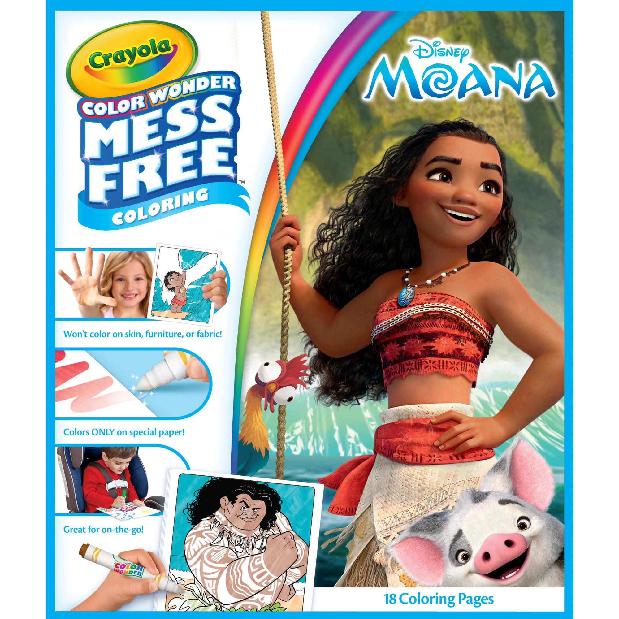 Moana coloring pages crayola - Crayola Color Wonder Disney S Moana Coloring Book 18 Pages With 5 Mess Free Markers Walmart Com