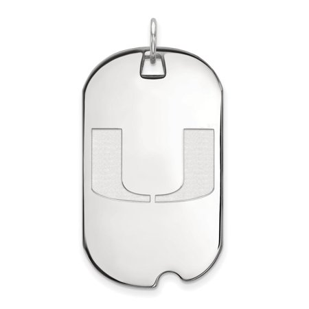 Miami Large (3/4 Inch) Dog Tag (10k White Gold) - White Gold Dog Tags