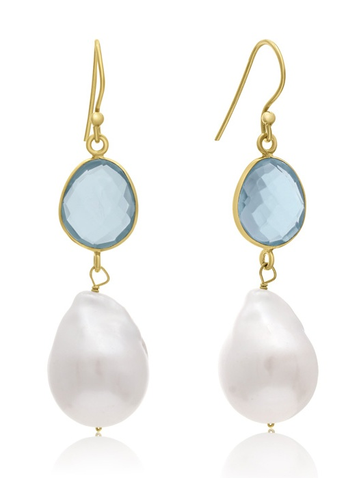64 Carat Blue Topaz Quartz and Baroque Pearl Dangle Earrings In 14K Yellow Gold