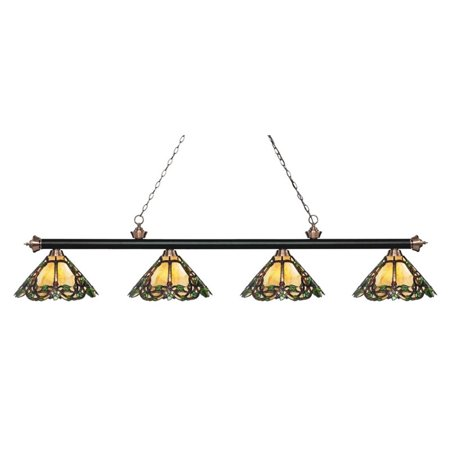 Z-Lite Riviera 4 Light Game Table Light in Multi-Coloured Tiffany - image 1 of 1