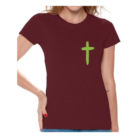 Awkward Styles Green Cross Shirt for Women Christian Cross Clothes for Ladies Following Jesus Womens T-Shirt Christian Gifts Jesus Shirts Jesus Cross Clothing Jesus T Shirt for Her Cross Ladies - Lights For Clothing