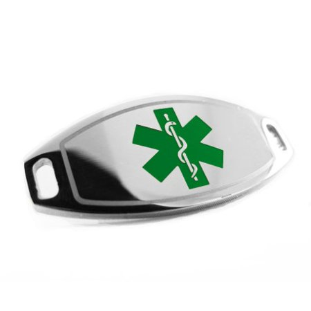 MyIDDr - Pre-Engraved - CANCER PATIENT Medical Alert ID Tag, Attachable to Bracelet, Green