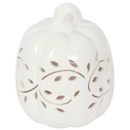 DII Halloween & Fall White Pumkpin Decorative Tealight Ceramic LED Lantern Ideal for Indoor Home Decor, Outdoor Lighting, Farmhouse, Vine Leaves Design