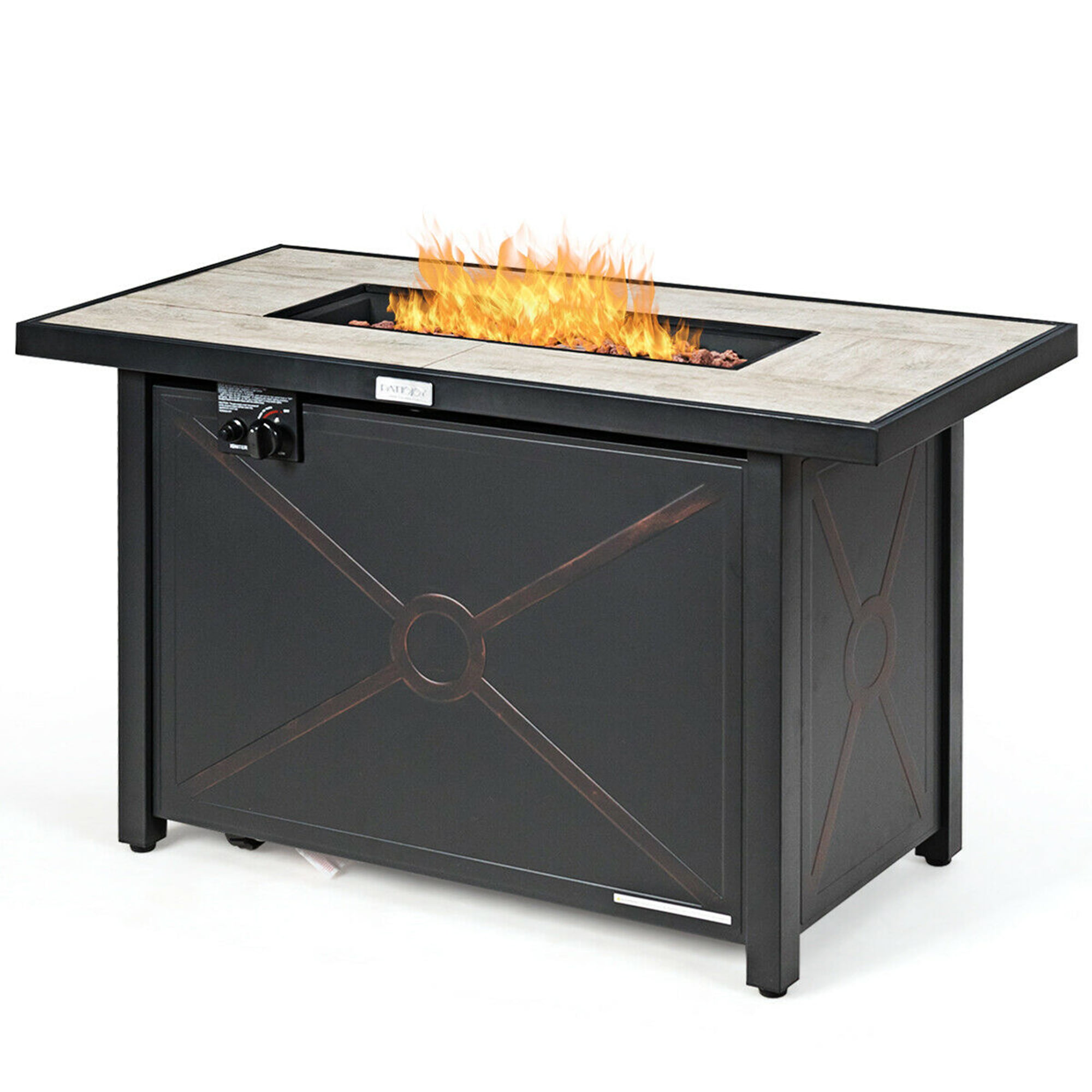 Propane Fire Pit Table With Waterproof Cover 60 000 Btu Happygrill Patio Gas Fire Pit Outdoor Backyard Gas Burner Stove Fire Table Outdoor Heating Fire Tables
