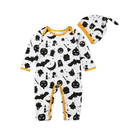 2019 Festival Newborn Baby Girl Boy Halloween Long Sleeve Romper Jumpsuit Cute Print Playsuit Hats Clothes Sets