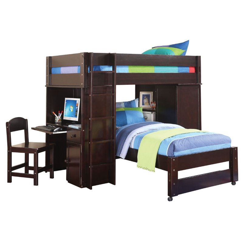 Bowery Hill Loft Bed With Twin Bed And Chair In Wenge