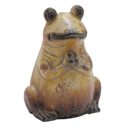 Modern Classic Ceramic Frog With Weathered Painting Rustic Finish Home Decor