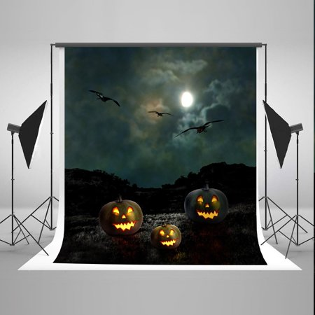 MOHome Polyster 5x7ft Halloween Photo Booth Prop Background Pumpkin Face Night Moon Photography Backdrops (Halloween Moon Faces)