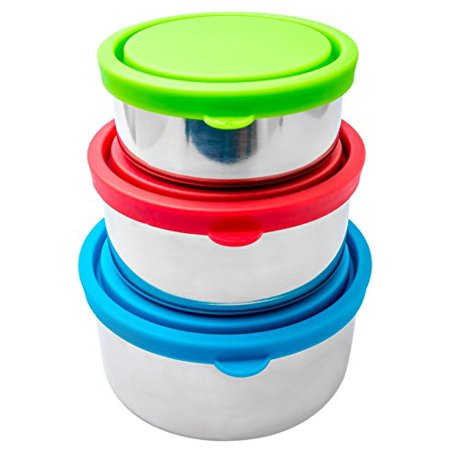 Stainless Steel Genuine Gift Box - Bruntmor Trio Nesting 18/8 Stainless Steel Food Containers with Leak-Proof Lids, Set of 3