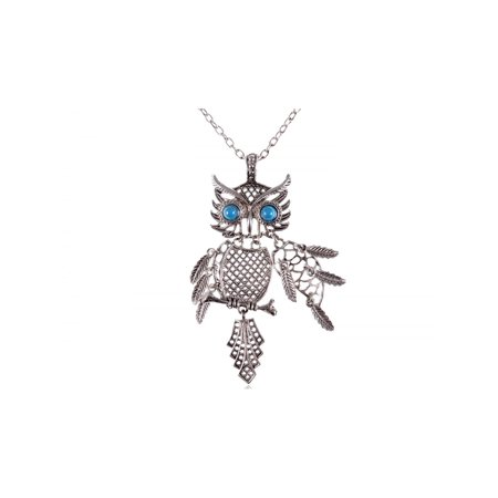 Eyed Owl Pendant - ChicSilver Color Tone Blue Turquoise Eye Bird Owl Pendant Necklace