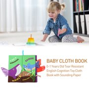 Akoyovwerve Baby Early Education Cloth Book 0-1 Years Old Tear Resistant English Cognition Toy Cloth Book With Sounding Paper