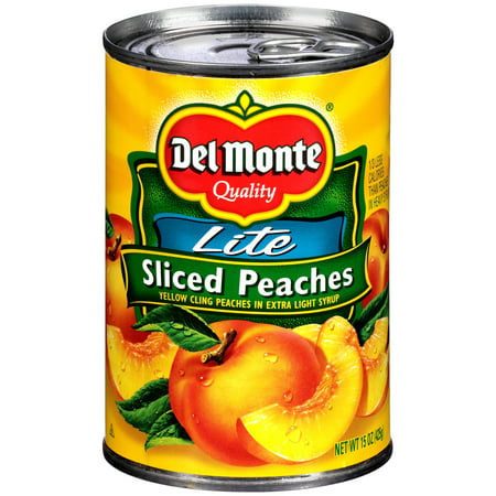 Del Monte Lite Sliced Yellow Cling Peaches In Extra Light Syrup, 15 Oz