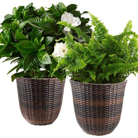2 Pennington Wicker Planter Box Basket Pots 13 Round Indoor Outdoor Flowers
