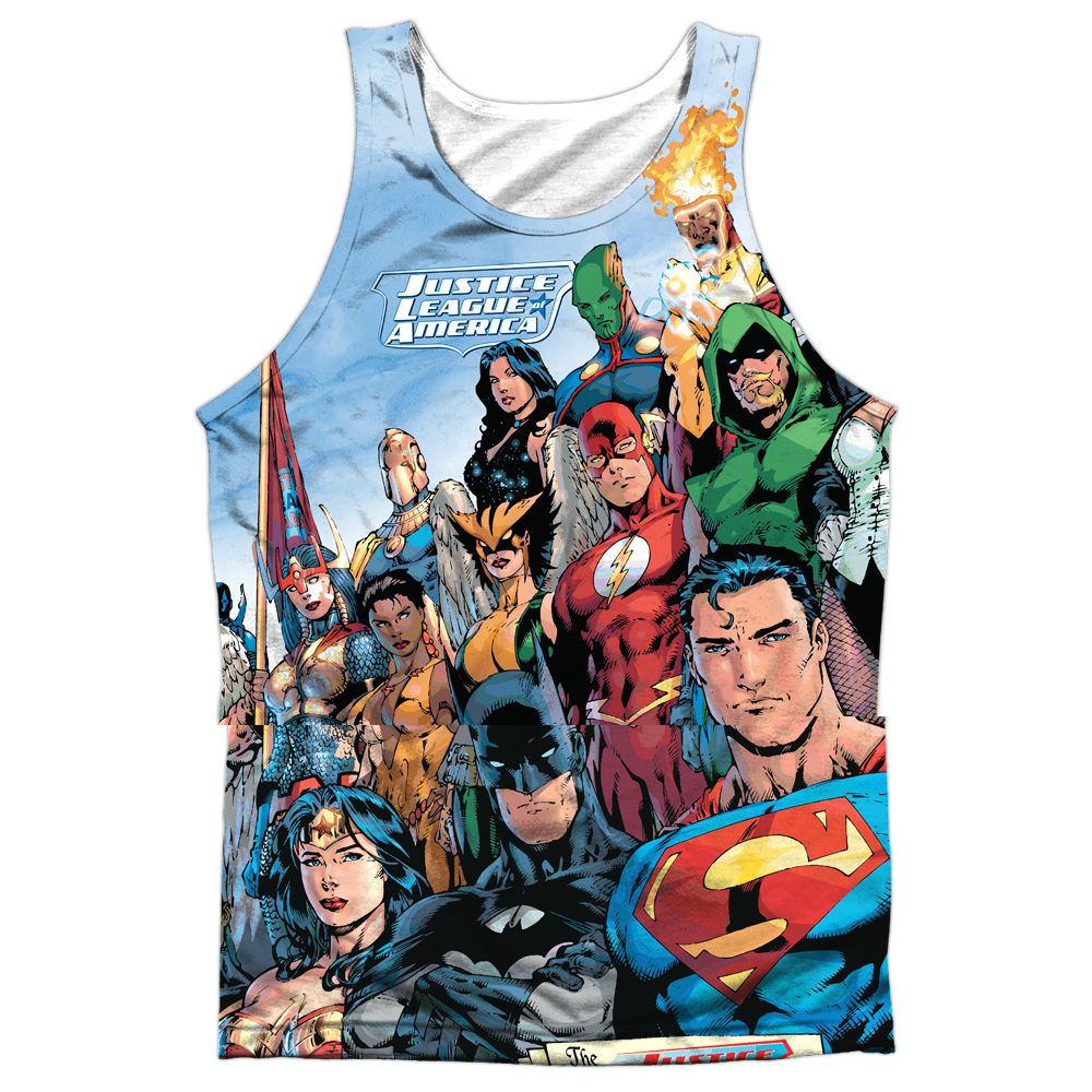 Jla Justice League Of America Mens Sublimation Tank Top Shirt