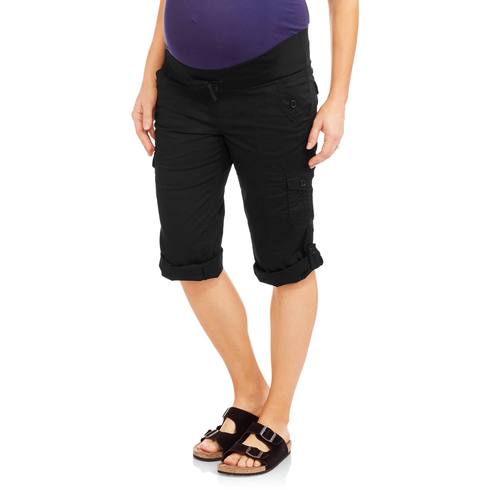Oh! Mamma Maternity Demi-Panel Casual Woven Convertible Capri Pants
