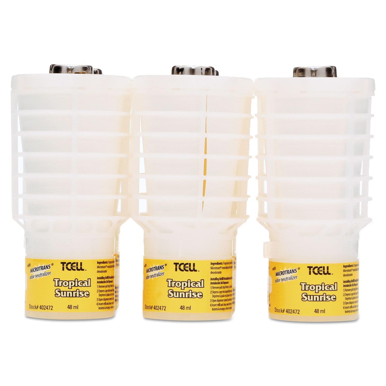 TCell Microtrans Odor Neutralizer Refill, Tropical Sunrise, 48 ml, 6/Carton