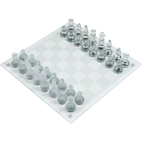 Glass Chess Set- Classic Game with Elegant Design, Durable Build- Set Includes Board, 32 Frosted and Clear Pieces with... by TRADEMARK GAMES INC