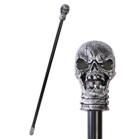 Death Wish Grinning Devilish Skull Prop Accessory Walking Cane For Parties](Skull Cane)