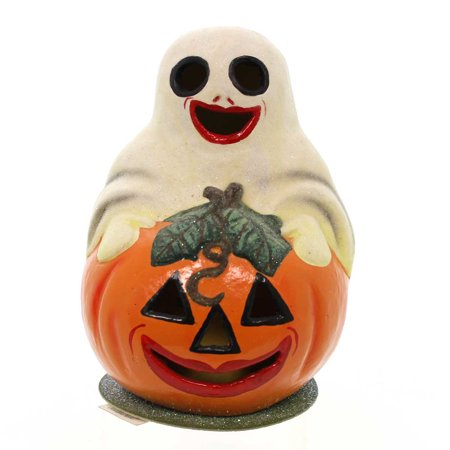 Christopher Radko GOURD N GHOUL Paper Mache Candy Container Halloween Ghost