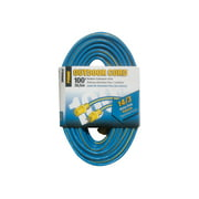 Prime Wire 100-Foot Kaleidoscope Heavy Duty Extension Cord, Blue and Yellow