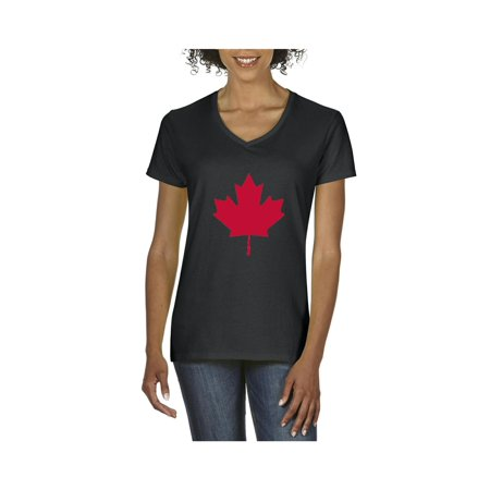 Canada Maple Leaf Canadian Women's V-Neck T-Shirt Tee Clothes
