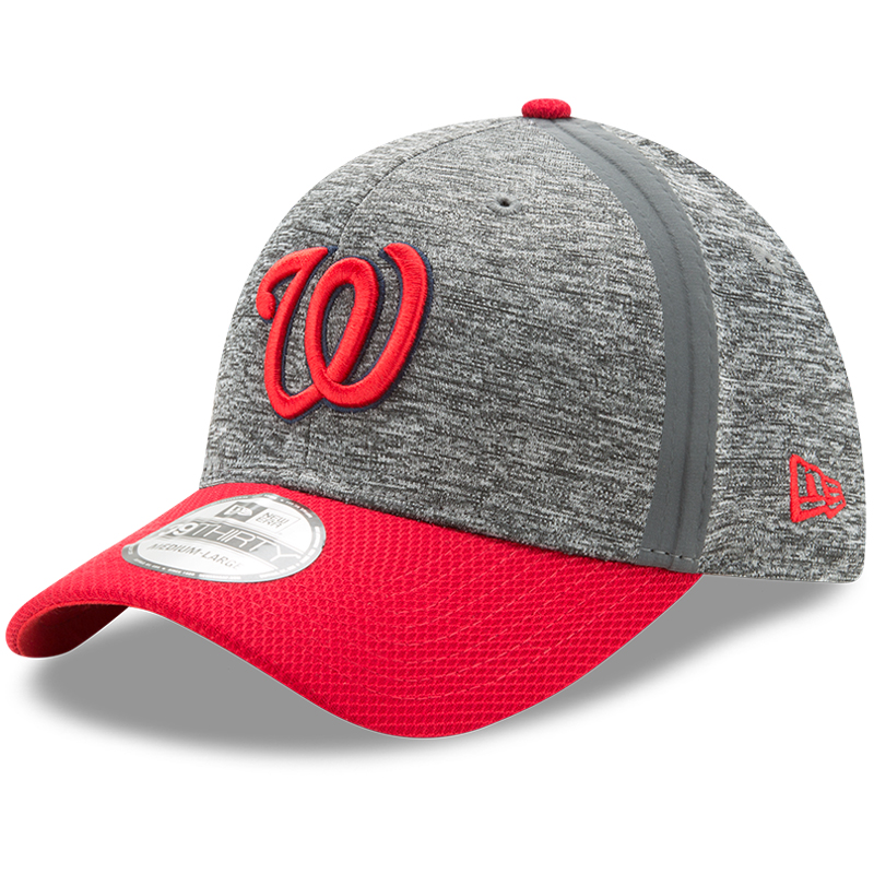 Washington Nationals New Era Clubhouse 39THIRTY Flex Hat - Heathered Gray/Red