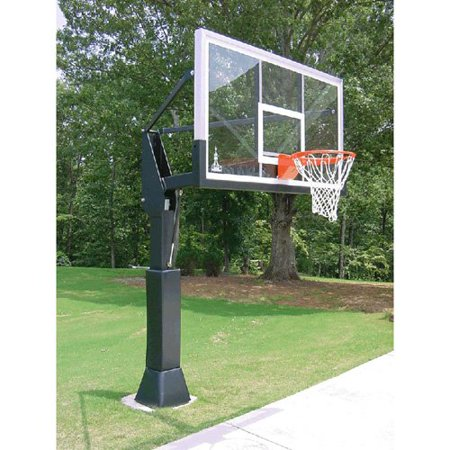 barbarian 72 inch adjustable inground basketball hoop system with glass backboard. Black Bedroom Furniture Sets. Home Design Ideas