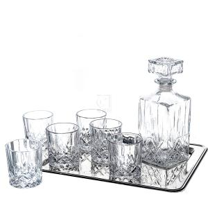 8-Piece Ingrid Whiskey Drinkware Barware Drink Set with 6 Crystal Double Old Fashioned Glasses, Decanter, and Silver-Plated Rectangular Tray