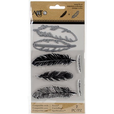 Momenta Stamp And Die Set  Large Feathers