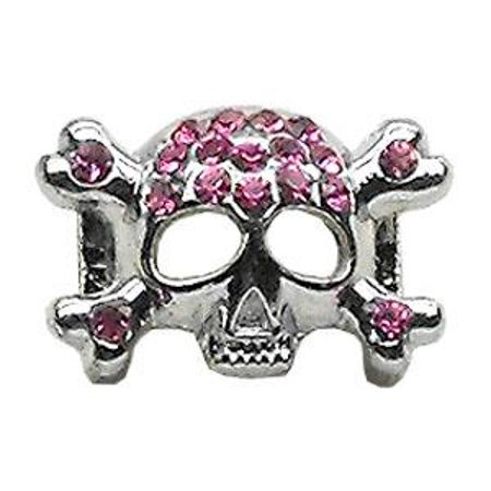 """3/8"""" Skull Slider Charm Pink 3/8"""