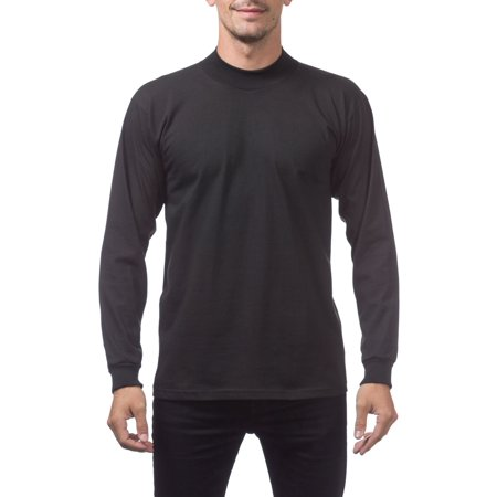 Pro Club Men's Mock Turtle Long Sleeve Tee, Medium, Black