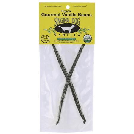 Singing Dog Vanilla Organic Gourmet Vanilla Beans 2 Ct