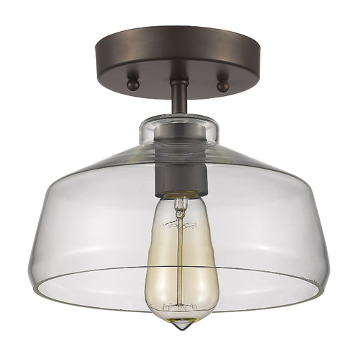 "CHLOE Lighting DICKENS Industrial-style 1 Light Rubbed Bronze Semi-flush Ceiling Fixture 9"" Shade by Chloe Lighting"