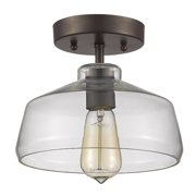 """CHLOE Lighting DICKENS Industrial-style 1 Light Rubbed Bronze Semi-flush Ceiling Fixture 9"""" Shade"""