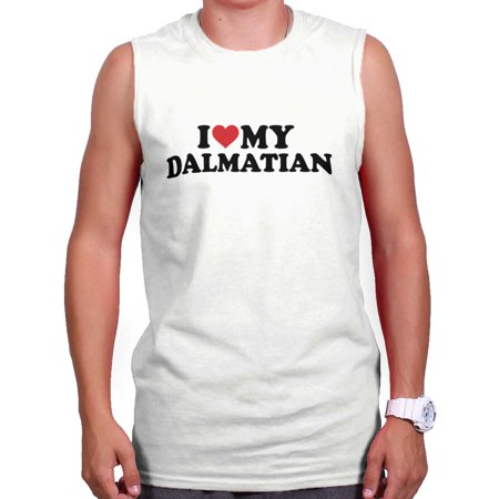 Brisco Brands I Love My Dalmatian Dog Owner Sleeveless T-Shirt For Men](101 Dalmatians Shirt)