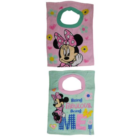 Infant   Toddler Girls Minnie Mouse 2 Pack Large Size Cotton Baby Bibs Set