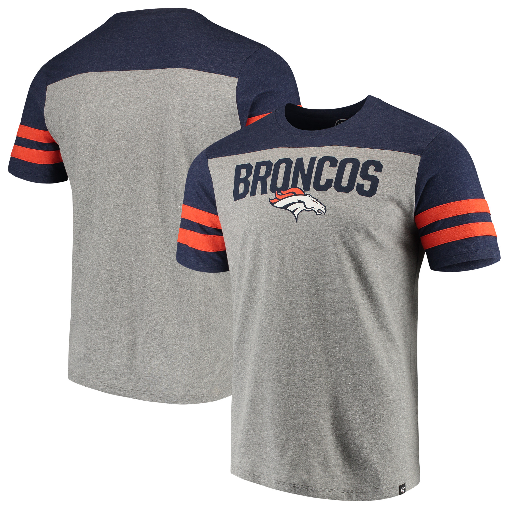Denver Broncos '47 Versus Club T-Shirt - Heathered Gray/Heathered Orange