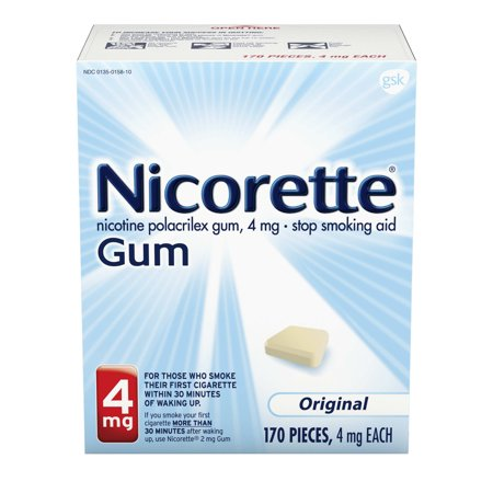 Nicorette Nicotine Gum to Stop Smoking, 4mg, Original, 170 Count Quit Smoking Gum