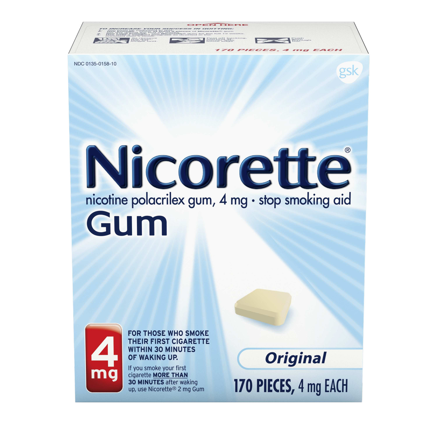 Nicorette Nicotine Gum to Stop Smoking, 4mg, Original, 170 Count