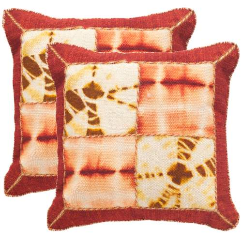 Safavieh DEC550A Square Chili Pepper Dip-Dye Quarter Patch Pillow with Feather F