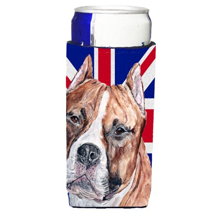 Staffordshire Bull Terrier Staffie with English Union Jack British Flag Michelob Insulator for slim cans