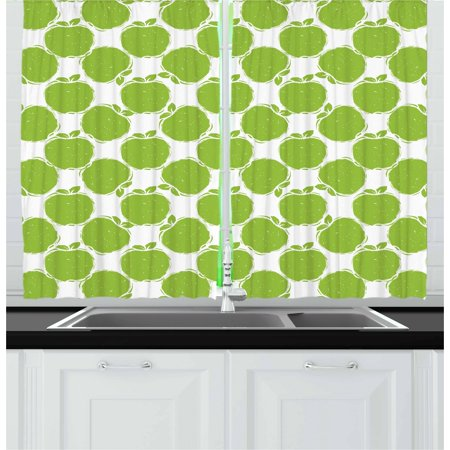 Apple Curtains 2 Panels Set, Abstract Sketch of Granny Smith Silhouettes Orchard Produce Fruitarian Diet, Window Drapes for Living Room Bedroom, 55W X 39L Inches, Apple Green White, by Ambesonne ()