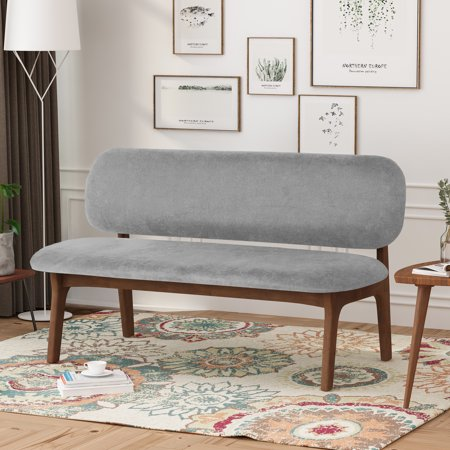 Noble House Quinton Wooden Dining Bench, Gray, Walnut ()