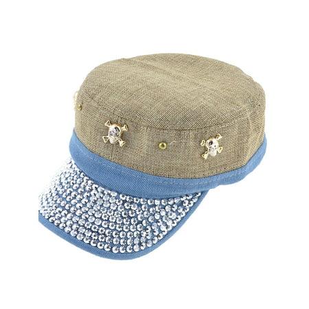 Unique Bargains Rhinestude Decor Hook Loop Fastener Khaki Blue Summer Visor Hat for Lady Man (Hooks For Hats)