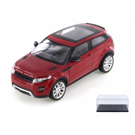 Diecast Car & Display Case Package - Land Rover Range Rover Evoque SUV w/ Sunroof, Red - Welly 24021WR - 1/24 Scale Diecast Model Toy Car w/Display Case ()