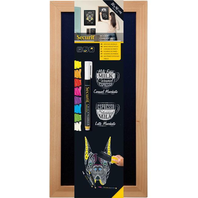 Securit WBW-TE-20-40 20 x 40 cm Wooden Wall Chalkboard & Marker, Teak