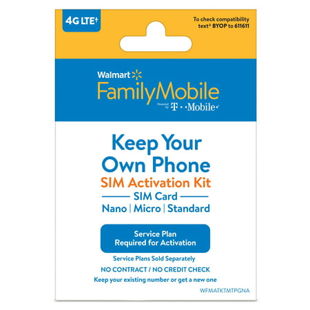 Walmart Family Mobile Bring Your Own Phone SIM Kit - T-Mobile GSM (Dual Sim Card Phone)