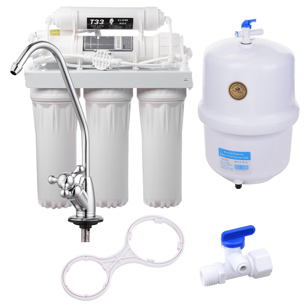 Great Yescom 5 Stage 50 GPD RO Water Filter System Reverse Osmosis Filtration For  Home Drinking