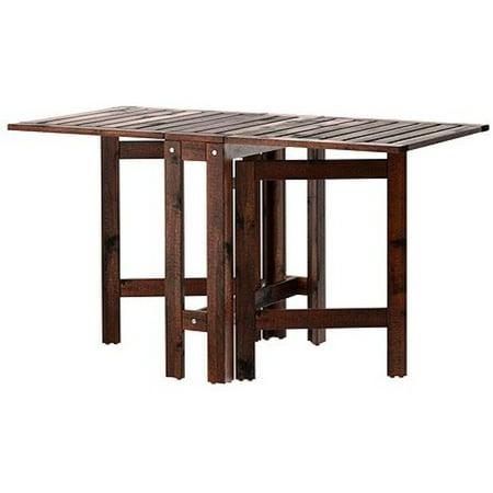 Ikea applaro drop leaf folding wood table brown seats 2 4 - Table retractable cuisine ...